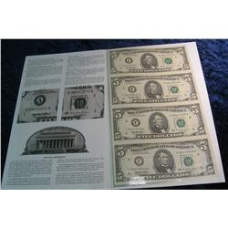 777. Series 1995 Uncut Sheet $5 Federal Reserve Notes.