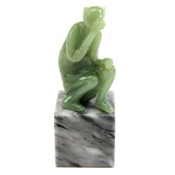 CHINESE CARVED JADE MONKEY ON MARBLE BASE