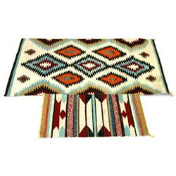 20TH C NAVAJO DIAMOND PATTERN SERAPE BLANKETS