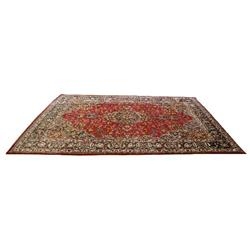 9 X 13 FOOT SEMI-ANTIQUE PERSIAN MASHAD CARPET