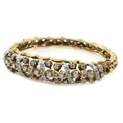 VINTAGE 18K YELLOW GOLD & DIAMOND BANGLE BY JG