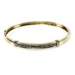 LADIES 14K GOLD HINGED DIAMOND BANGLE BRACELET