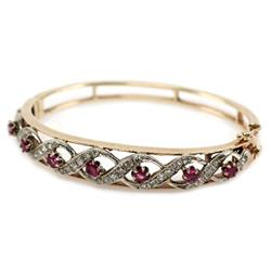 LADIES 14K YELLOW GOLD RUBY & DIAMOND BRACELET