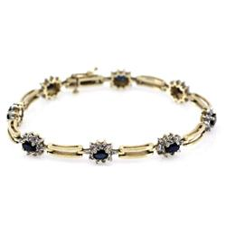 LADIES 14K YELLOW GOLD SAPPHIRE TENNIS BRACELET