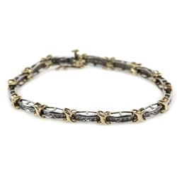 LADIES 10K GOLD TWO-TONE DIAMOND BRACELET