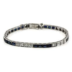LADIES PLATINUM DIAMOND AND SAPPHIRE BRACELET