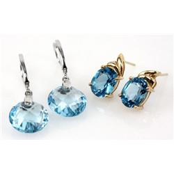 2 PAIRS OF LADIES 14K GOLD & BLUE TOPAZ EARRINGS