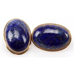 LADIES 14K YELLOW GOLD LAPIS LAZULI CAB EARRINGS