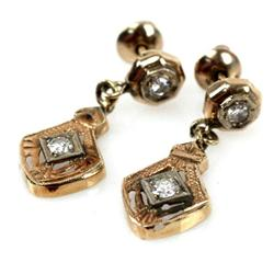 LADIES ANTIQUE 10K GOLD DIAMOND DROP EARRINGS