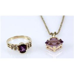 LADIES YELLOW GOLD AMETHYST & DIAMOND JEWELERY LOT