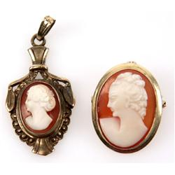 PAIR OF LADIES 10K YELLOW GOLD CAMEO PENDANTS