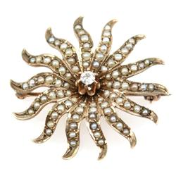 ANTIQUE LADIES 10K GOLD SEED PEARL & DIAMOND PIN