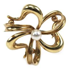 LADIES 18K YELLOW GOLD PEARL PENDANT BROOCH