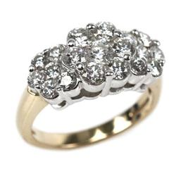 LADIES 14K YELLOW GOLD 1.9CTW DIAMOND CLUSTER RING