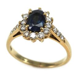LADIES 18K YELLOW GOLD SAPPHIRE & DIAMOND RING