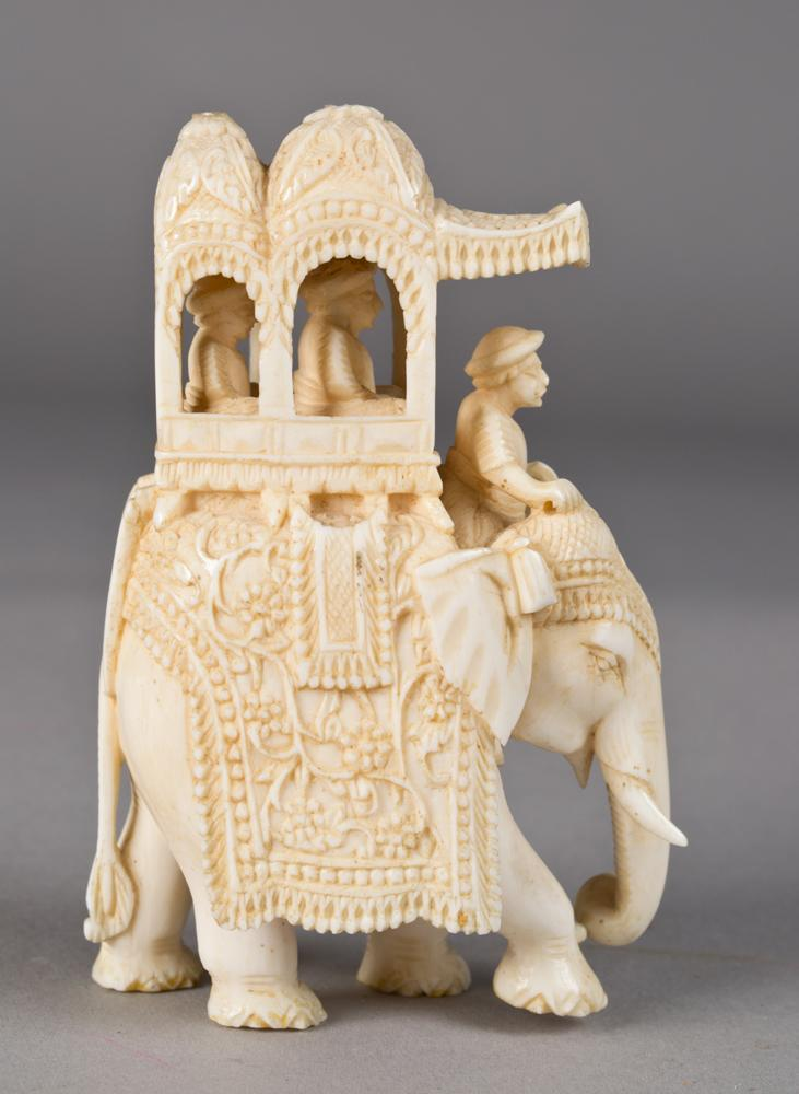A Very Fine Indian Carved Ivory Elephant  A Very Fine Ind...