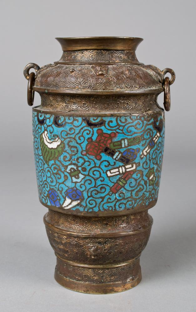 A Japanese Cloisonne And Bronze Vase