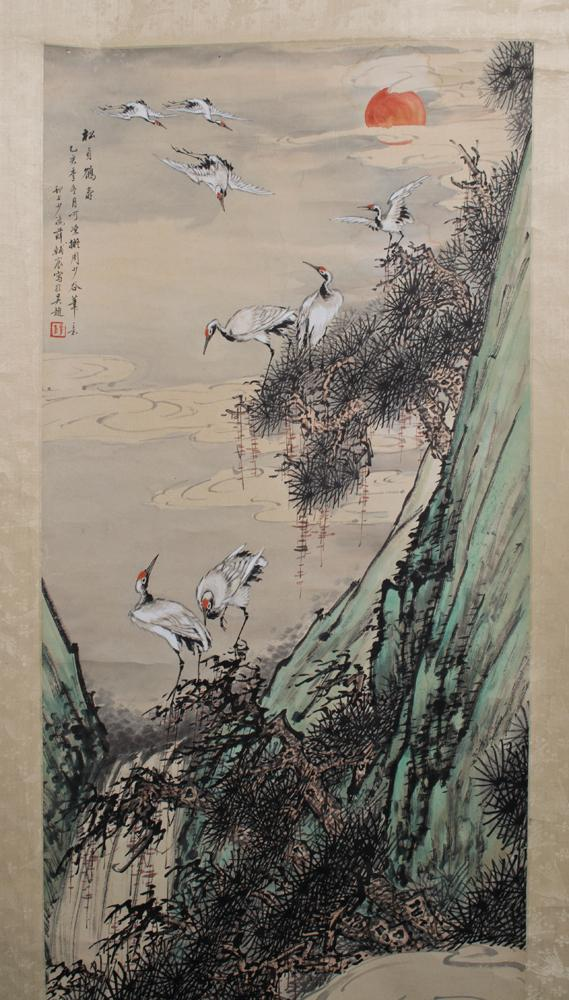 A Fine Japanese Scroll Painting On Silk