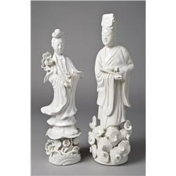(2) Chinese Blanc De Chine Porcelain Figurines