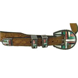 Zuni Inlay Buckle Set & Belt