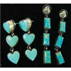 2 Pair Turquoise & Silver Earrings