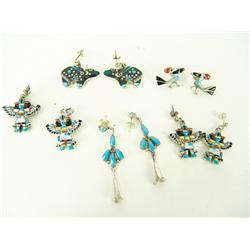 5 Pair Zuni Inlay Earrings