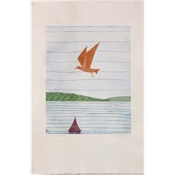 Color Etching, Keiko Minami, Orange Bird Flying