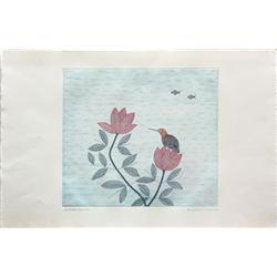 Color Etching, Keiko Minami, Bird Perched