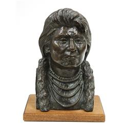 Bronze, Bust of an Indian Chief, signed B. Butts