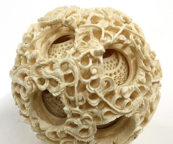 Chinese ivory puzzle ball elephant stand
