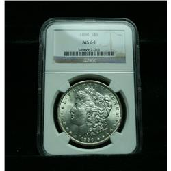 NGC 1890-p Morgan Dollar Graded Choice Uncirculated ms64  NGC