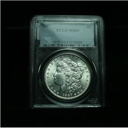 PCGS 1887-p Morgan Dollar Graded Choice Uncirculated ms64  PCGS