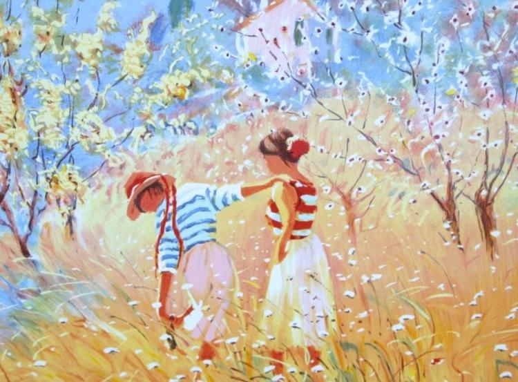 Children in garden soft pastel style ltd ed for Bernard peintre