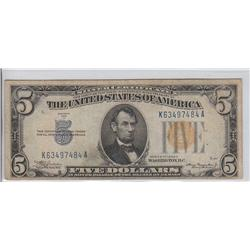 $5 NORTH AFRICA SILVER CERTIFICATE 1934
