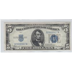 $5 UNC SILVER CERTIFICATE EMBOSSING  1934 BOLD