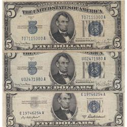 LOT OF 3 $5 SILVER CERTIFICATE 1934 & 1953