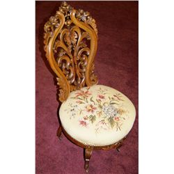 Antique hand carved & embroidered  Victorian Parlor Chair, (reportedlymade under John Belter)