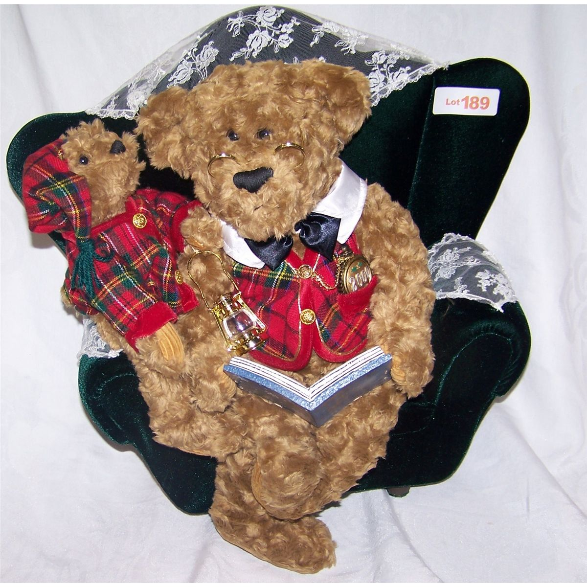 twas the night before christmas teddy bear reading book on chair w