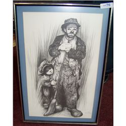 Vintage black &amp; white Clown lithograph hand signed lower right DeFranco (?) framed