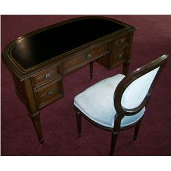 Half moon leather top wood desk and chair