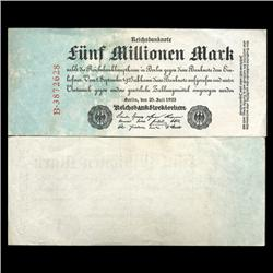 1923 Germany 5000000 Mark Note Hi Grade Rare (CUR-05677)