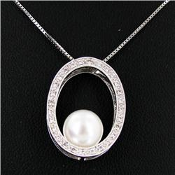 Pearl Diamond 14k Pendant Necklace (JEW-2832)