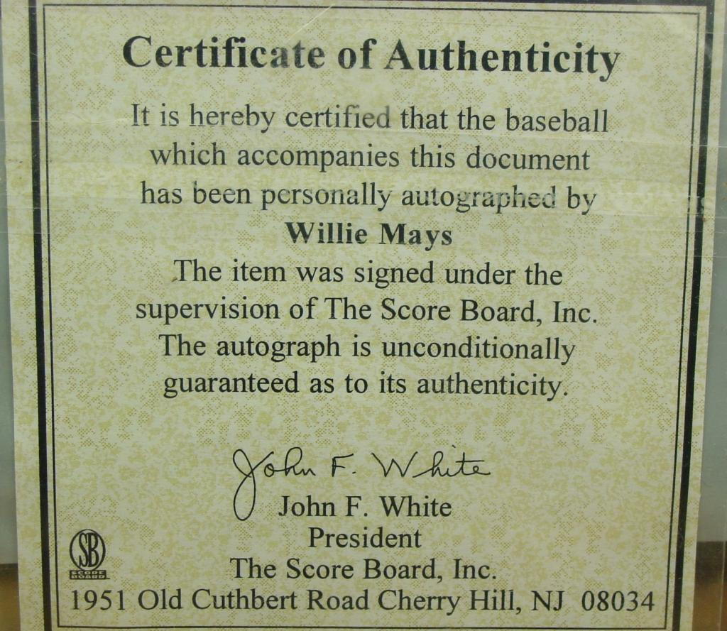 Legendary willie mays autographed baseball 660 home runs comes image 5 legendary willie mays autographed baseball 660 home runs comes with certificate of authenticity alramifo Images