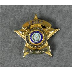 Five point star badge by Blackinton marked  Chief Jay Banks, Police, Palestine, Texas in  overall ex