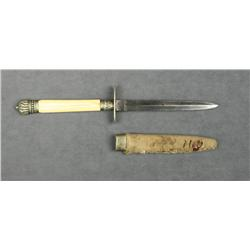 "Small bone gripped dagger, approx. 9"" overall  with an approx. 4-1/2"" blade marked ""George  Hancock"