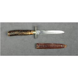 John Newton & Co. Sheffield, England marked  spear point knife with stag grip, simple  German silver
