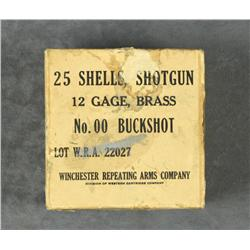 Box of 25 12 Gauge brass shotgun shells for  No. 00 Buckshot by Winchester Repeating Arms  Co. in ov