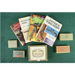 "Lot of misc. gun related reference books, old  cigar boxes, and misc. Books include ""Gun  Talk"" by M"