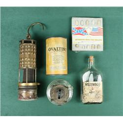 Lot of misc. collectibles including an  antique miner's lamp, a glass and brass  kerosene lamp, an o