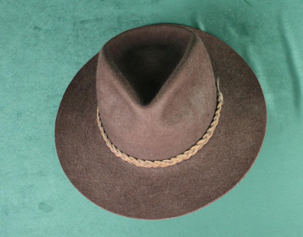 Image orvis bison cowboy hat with leather band and wood stand in overall  very jpg 1024x800 0e896b5d7db4